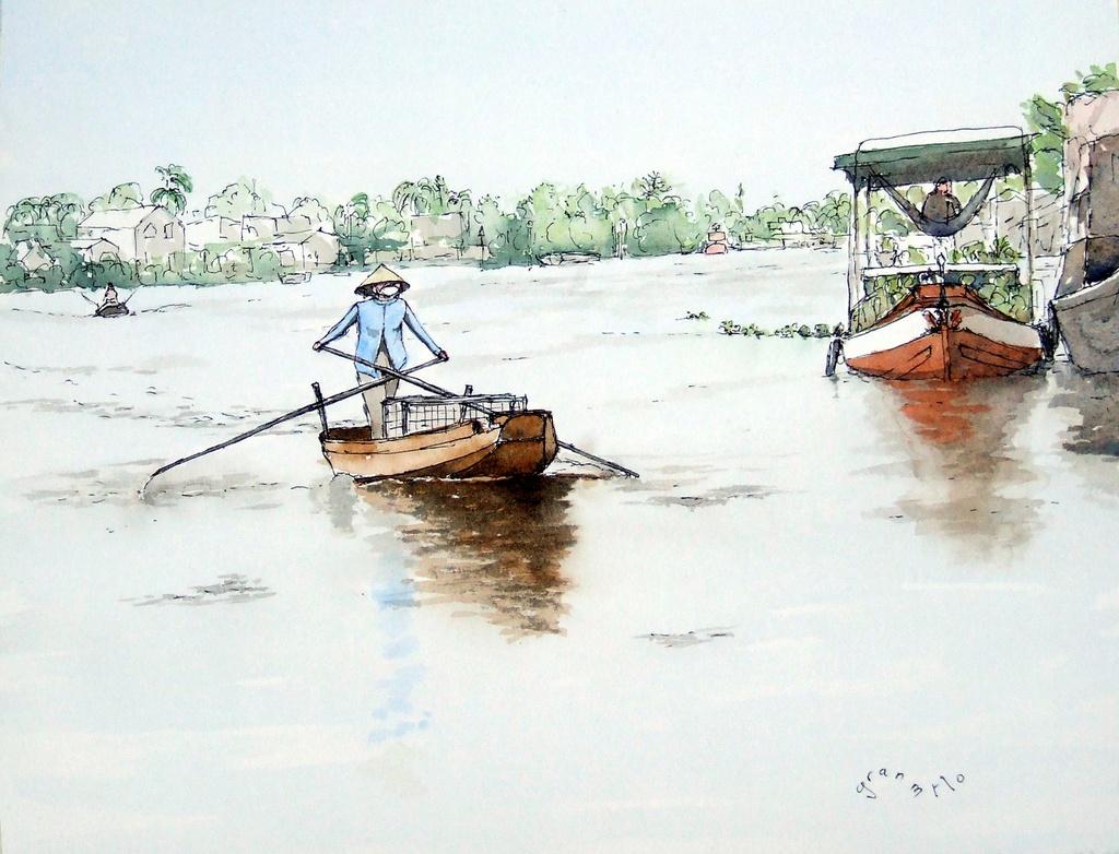 """Bộ tranh """"đẹp quá Việt Nam ơi"""" được vẽ bởi họa sĩ người Pháp, cộng đồng mạng quốc tế thích thú ngắm nhìn một nơi bình dị, an yên nhưng rất tươi tắn - Ảnh 8."""