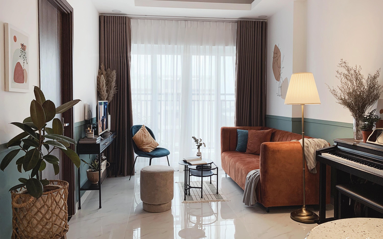 Căn hộ 66m² màu cam đất ấm cúng và trẻ trung, thiết kế có chi phí 150 triệu đồng