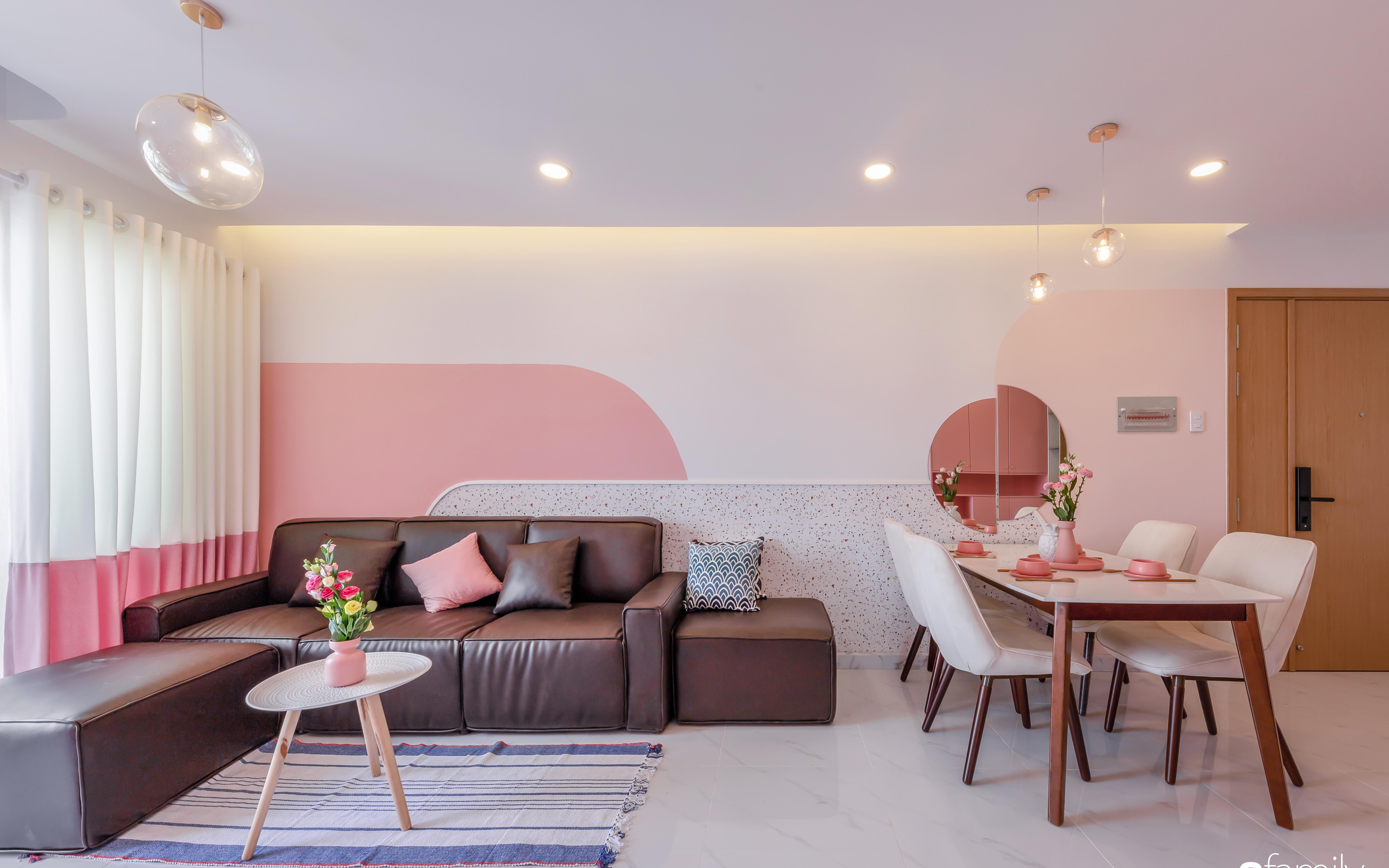 Căn hộ 100m² ngọt ngào khi chọn sắc hồng làm màu chủ đạo có chi phí hoàn thiện 450 triệu đồng