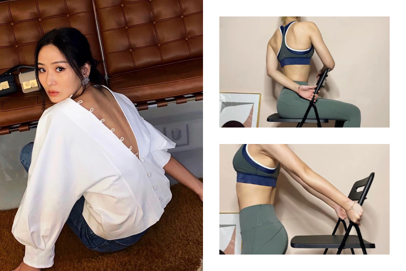 HLV hướng dẫn động tác tận dụng chiếc ghế để tập luyện, giúp các chị em lưng thẳng dáng thon đi trông thấy - Ảnh 1.