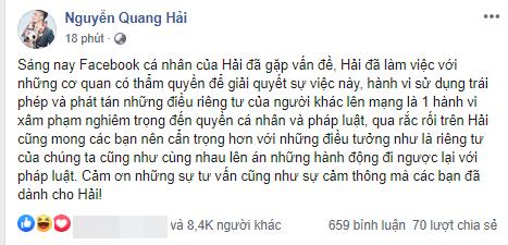 Facebook của Quang Hải bị hacker tấn công, đăng nhiều trạng thái và chia sẻ những tin nhắn nhảy cảm về chuyện yêu đương - Ảnh 2.