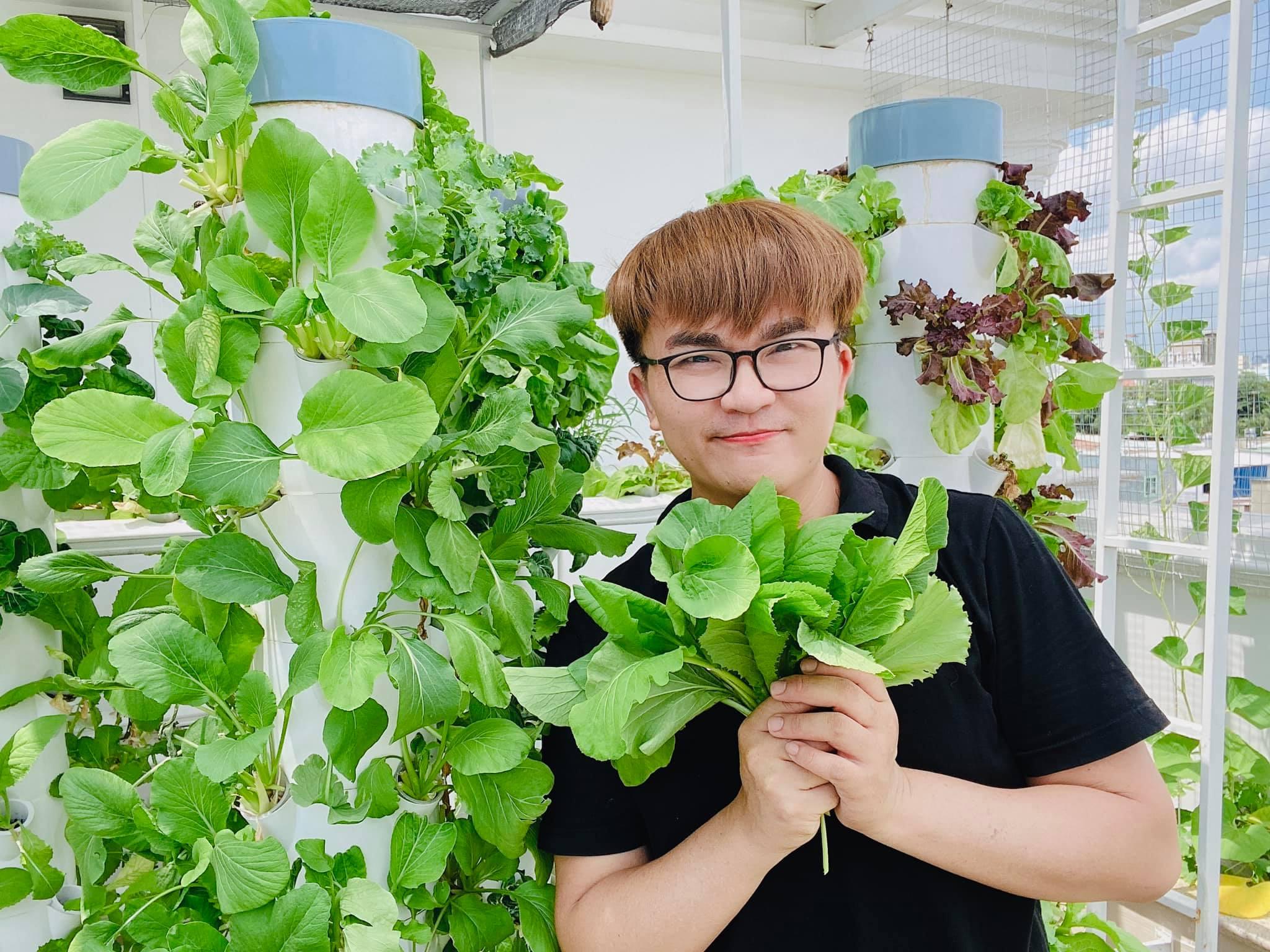MC Đại Nghĩa thư giãn tinh thần bằng cách trồng rau và nấm sạch trên sân thượng nhà mình ở quận 7, TP HCM - Ảnh 1.