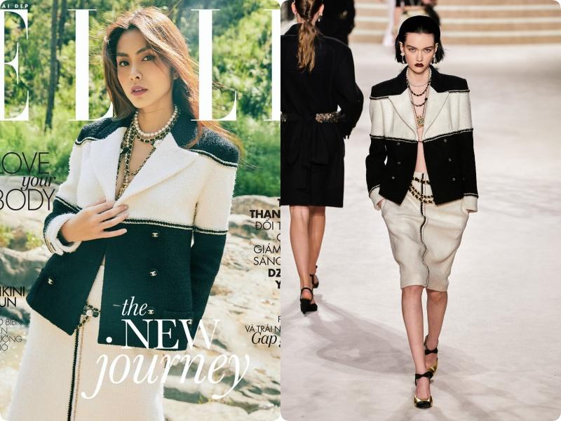 """Bê trọn bộ Chanel lên tạp chí, Hà Tăng lấp ló vòng 1, áp đảo """"tân nương yêu tinh"""" đơn điệu từ trang phục đến thần thái - Ảnh 3."""