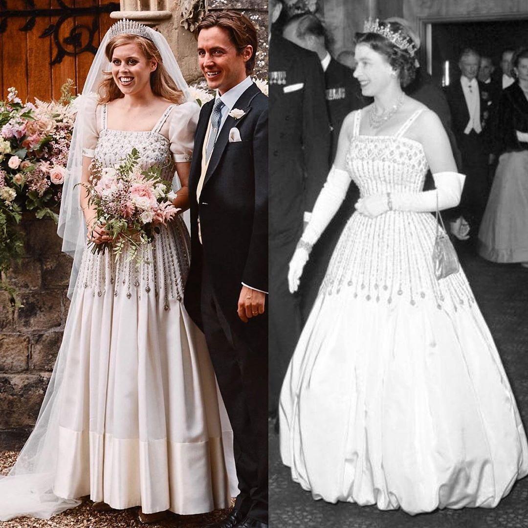"""Công chúa Beatrice tiết kiệm nhất Hoàng gia Anh: Váy cưới biến tấu từ váy của """"bà nội"""" từng diện từ 60 năm trước, đến vương miện cũng đi mượn - Ảnh 2."""