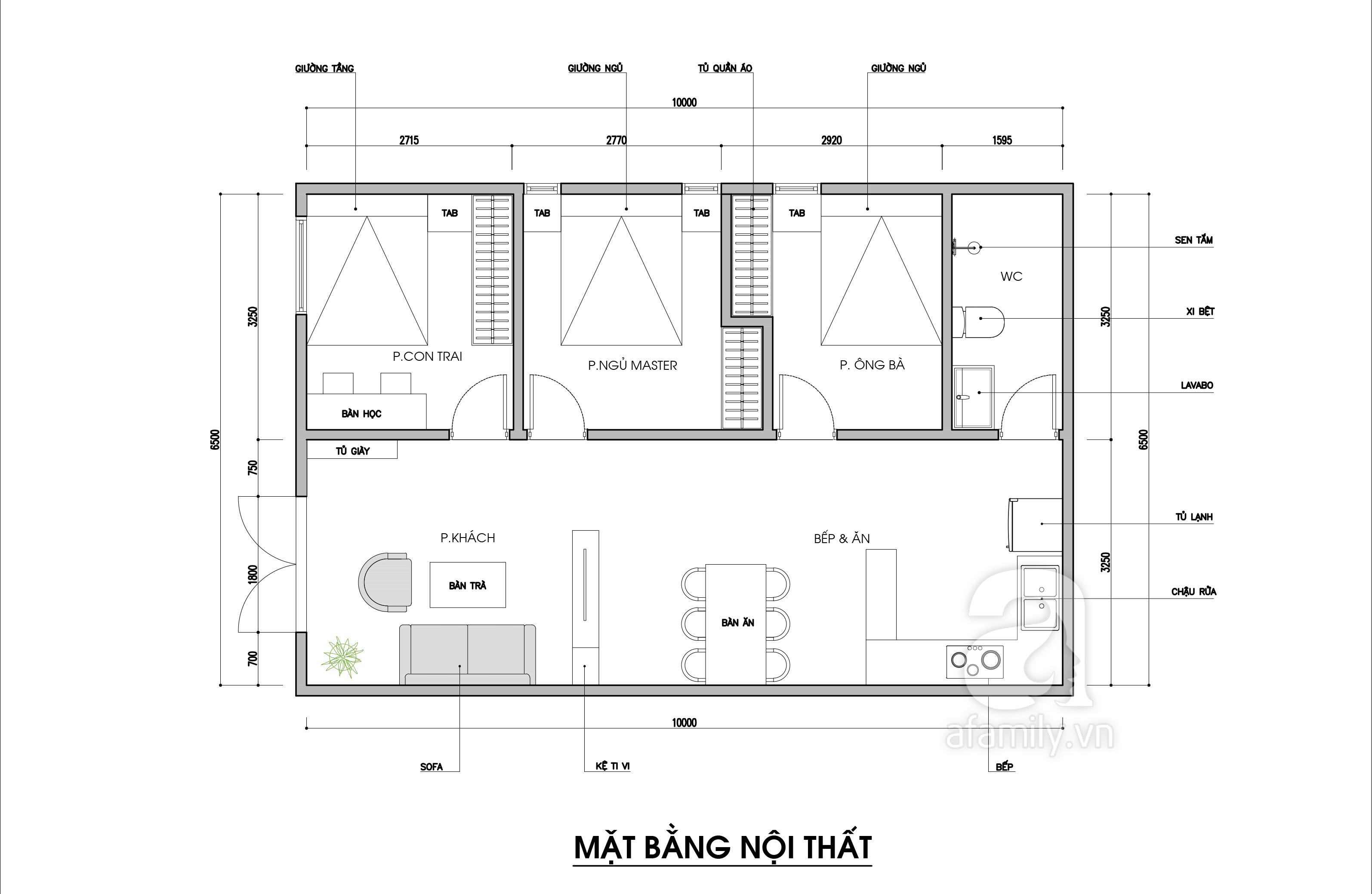 Tư vấn thiết kế cho nhà cấp 4 diện tích 65m², 3 phòng ngủ với chi phí 70 triệu đồng