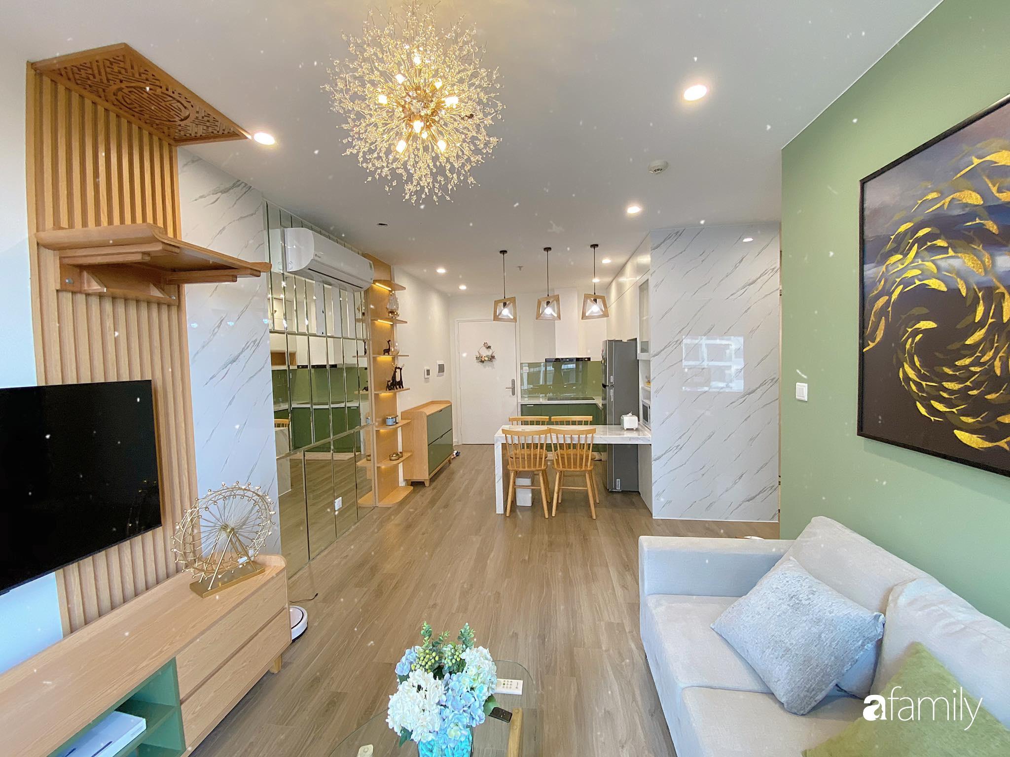 Căn hộ 59m² màu xanh lá xua tan nóng bức mùa hè có chi phí hoàn thiện 225 triệu đồng ở Hà Nội - Ảnh 4.