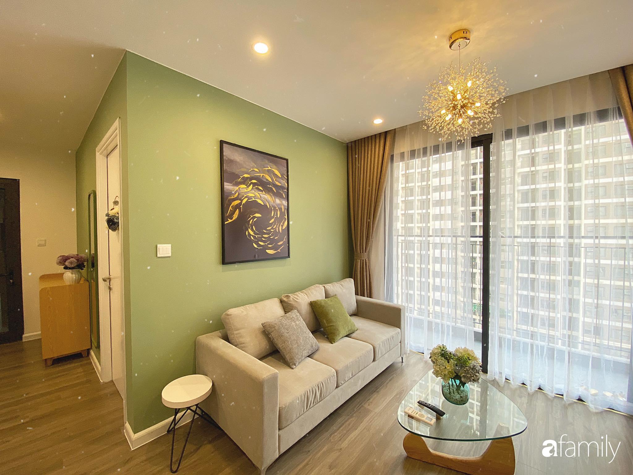 Căn hộ 59m² màu xanh lá xua tan nóng bức mùa hè có chi phí hoàn thiện 225 triệu đồng ở Hà Nội - Ảnh 7.
