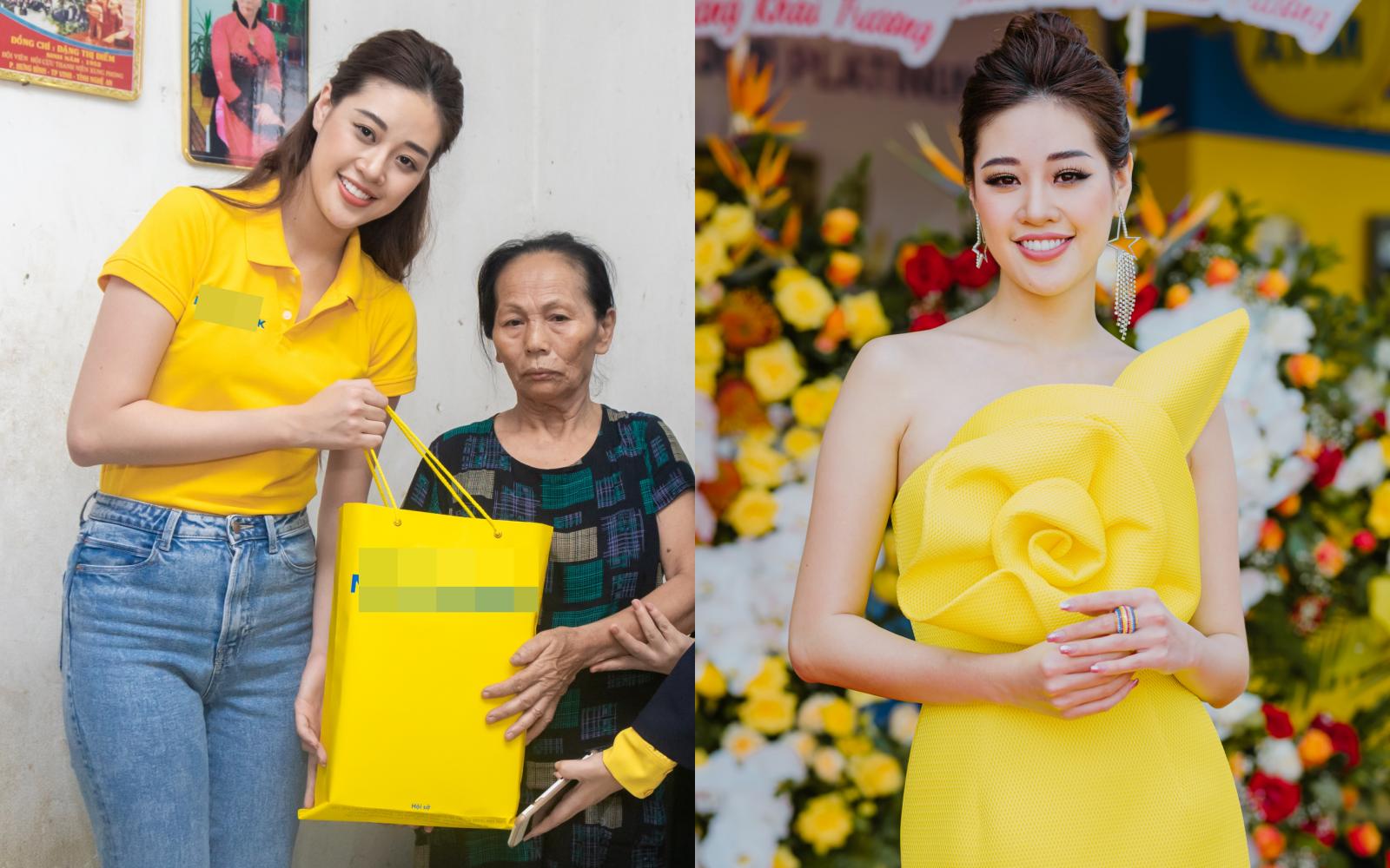 """Sáng giản dị đi thăm nạn nhân chất độc da cam, chiều Hoa hậu Khánh Vân """"biến hóa"""" lên đồ lộng lẫy đi sự kiện"""