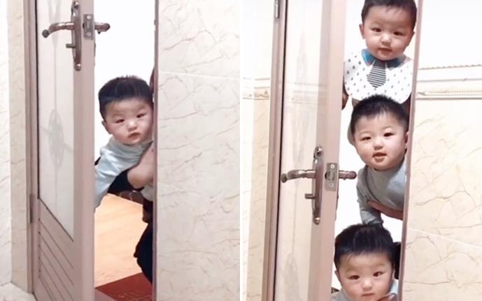 Mẹ đang trong nhà vệ sinh, cảnh tượng 3 bé trai lần lượt xuất hiện ngoài cửa khiến ai nấy phải phì cười vì quá đáng yêu