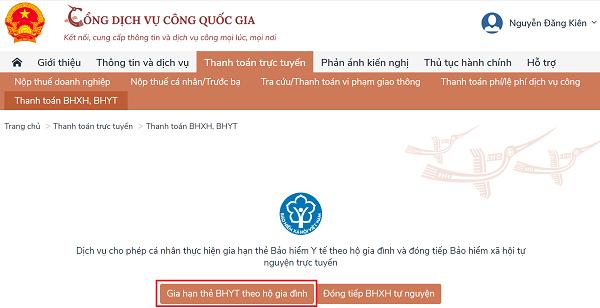 Cách gia hạn thẻ BHYT, đóng tiếp BHXH tự nguyện trên Cổng dịch vụ công Quốc gia - Ảnh 3.