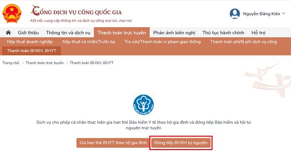Cách gia hạn thẻ BHYT, đóng tiếp BHXH tự nguyện trên Cổng dịch vụ công Quốc gia - Ảnh 10.