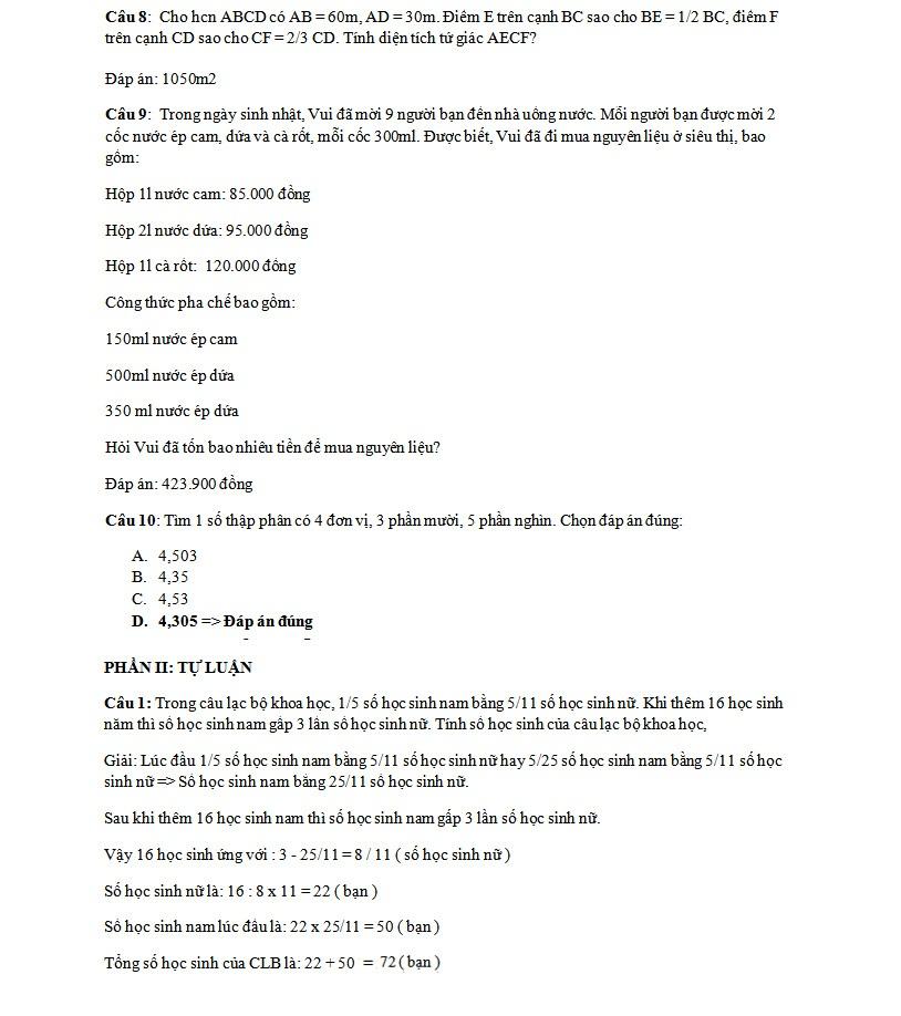 Đáp án đề thi tuyển sinh lớp 6 môn Toán của trường THCS Nguyễn Tất Thành - Ảnh 3.