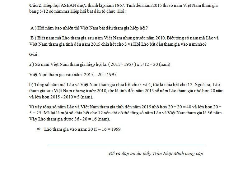 Đáp án đề thi tuyển sinh lớp 6 môn Toán của trường THCS Nguyễn Tất Thành - Ảnh 4.