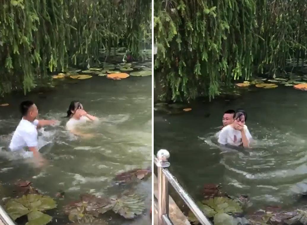 Clip gây phẫn nộ: Nhóm nam sinh hùa nhau ném bạn nữ xuống hồ nước, nạn nhân ho sặc sụa trong tiếng hò reo của bạn bè - Ảnh 4.