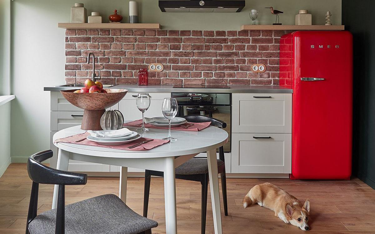 Gợi ý thiết kế những căn bếp có diện tích nhỏ với những bức tường gạch trần
