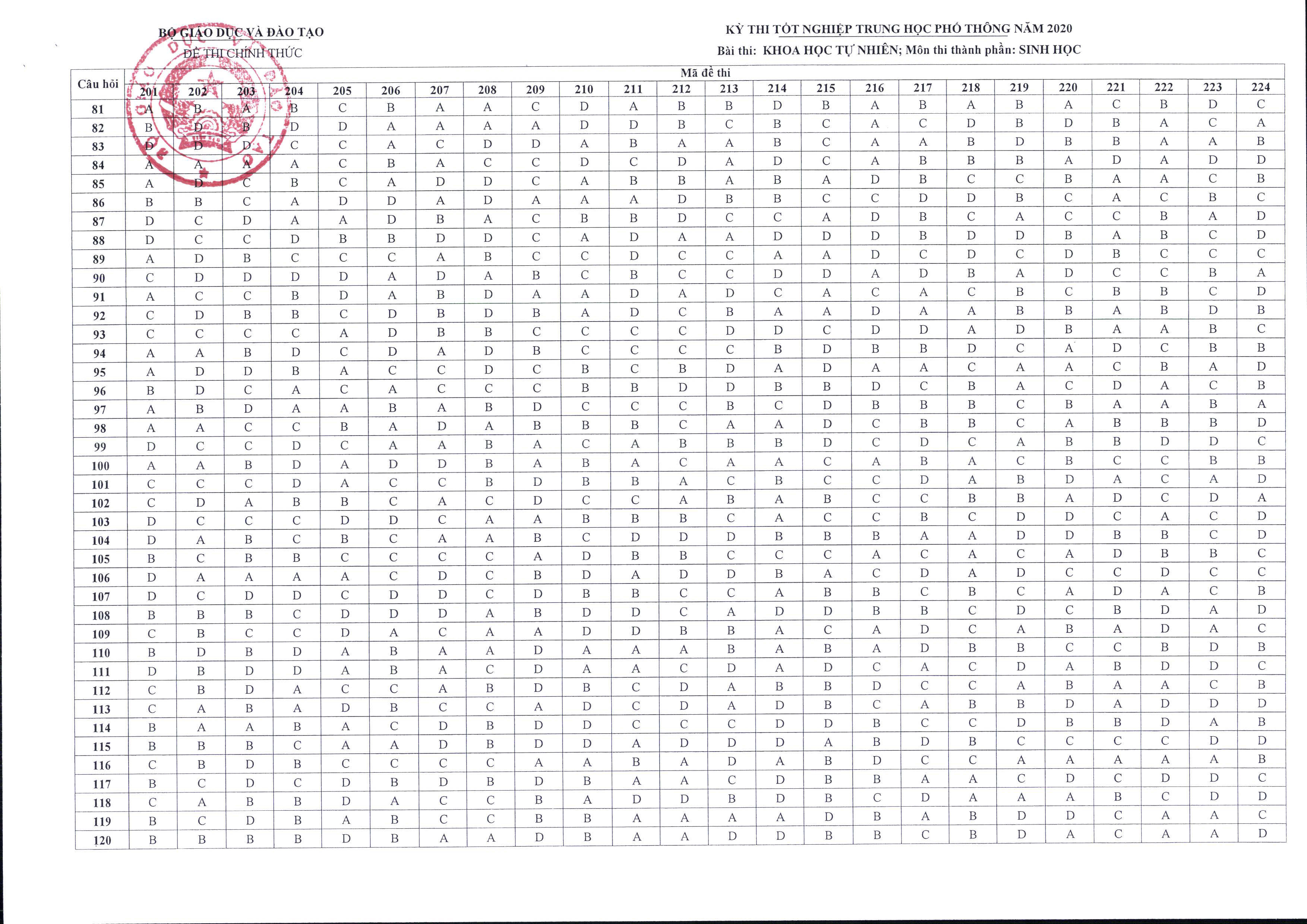 MỚI: Bộ GD&ĐT chính thức công bố đáp án và thang điểm các môn thi tốt nghiệp THPT - Ảnh 13.