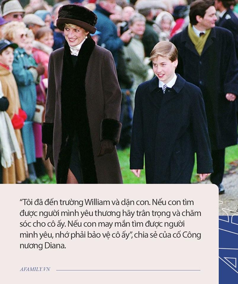 Nguyên do Hoàng tử William hết lòng yêu thương vợ, đó là bởi trước khi mất Công nương Diana đã đến tận trường học nói với con trai câu này - Ảnh 3.