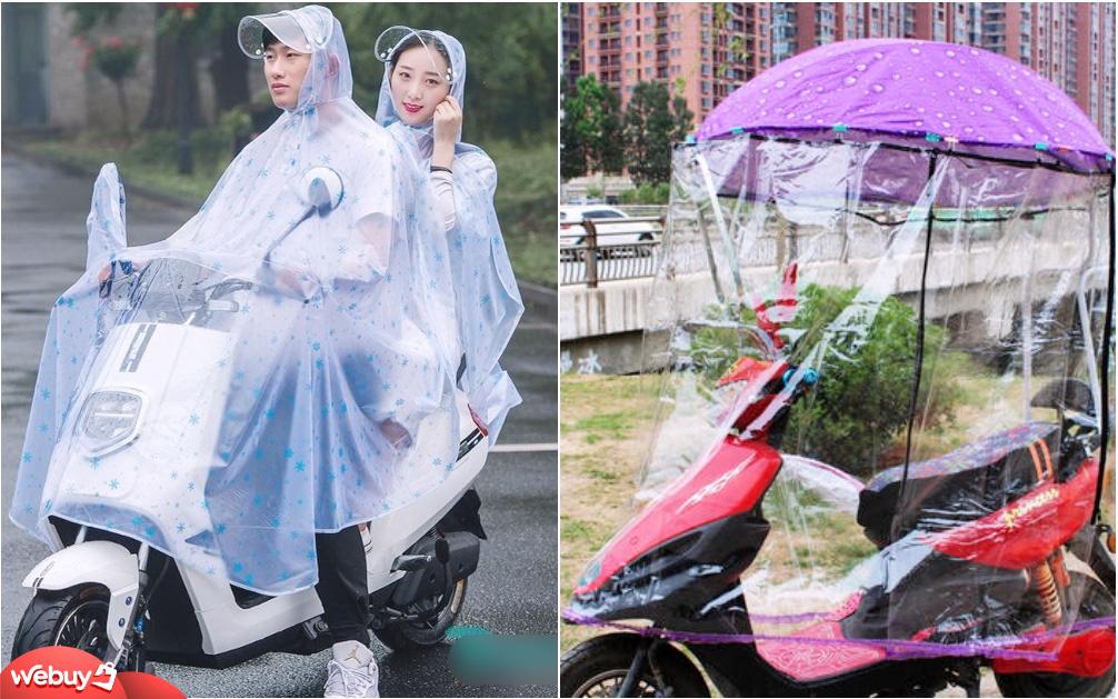 """Mùa """"lội sông"""" đi làm, đến xe máy cũng cần có áo mưa chuyên dụng"""