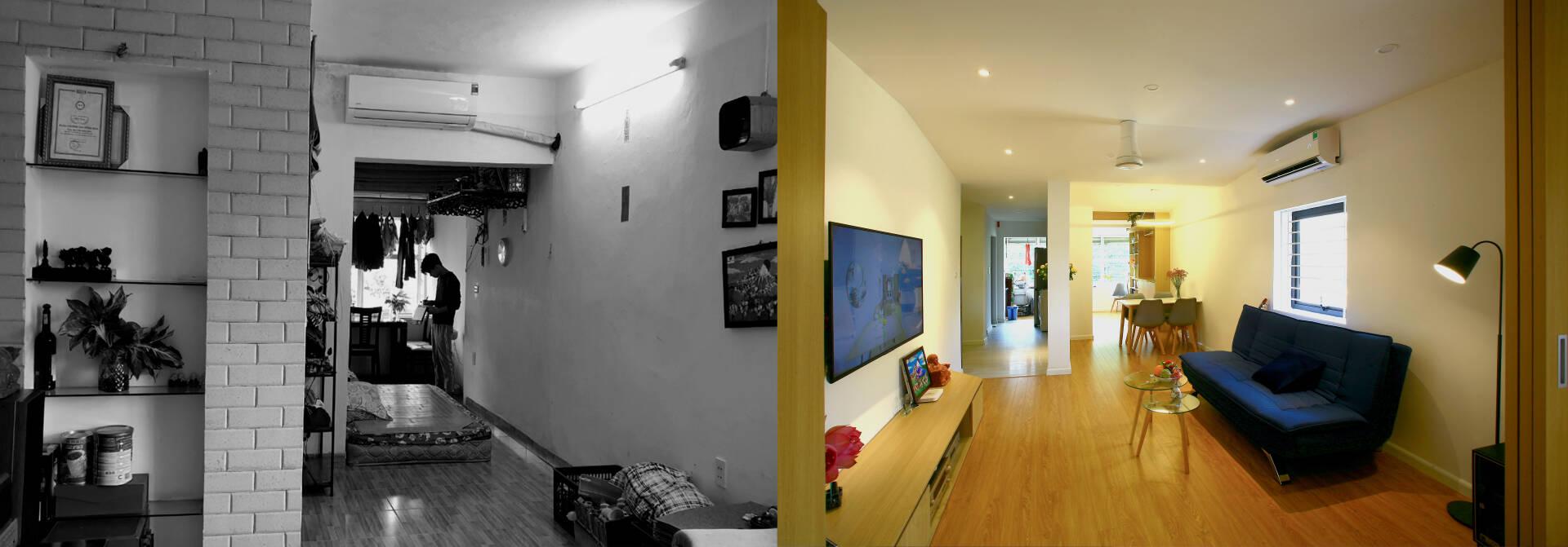"""""""Chuồng cọp"""" chật hẹp của nhà tập thể cũ 70m² biến thành không gian ấm cúng, rộng rãi với chi phí 320 triệu đồng ở Hà Nội  - Ảnh 1."""