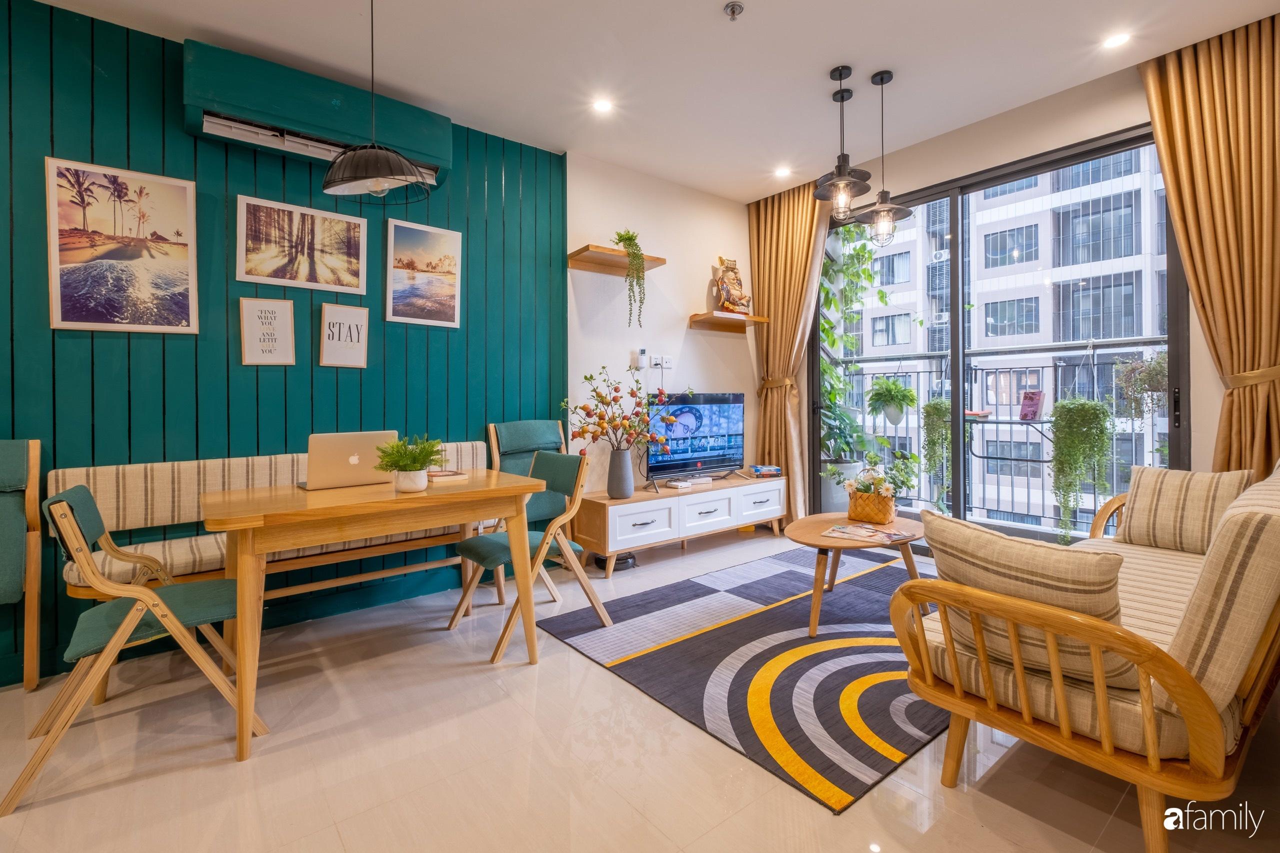 Căn hộ 54m² đẹp cuốn hút với tông màu xanh gần gũi với thiên nhiên có chi phí hoàn thiện nội thất 150 triệu đồng ở Hà Nội - Ảnh 5.