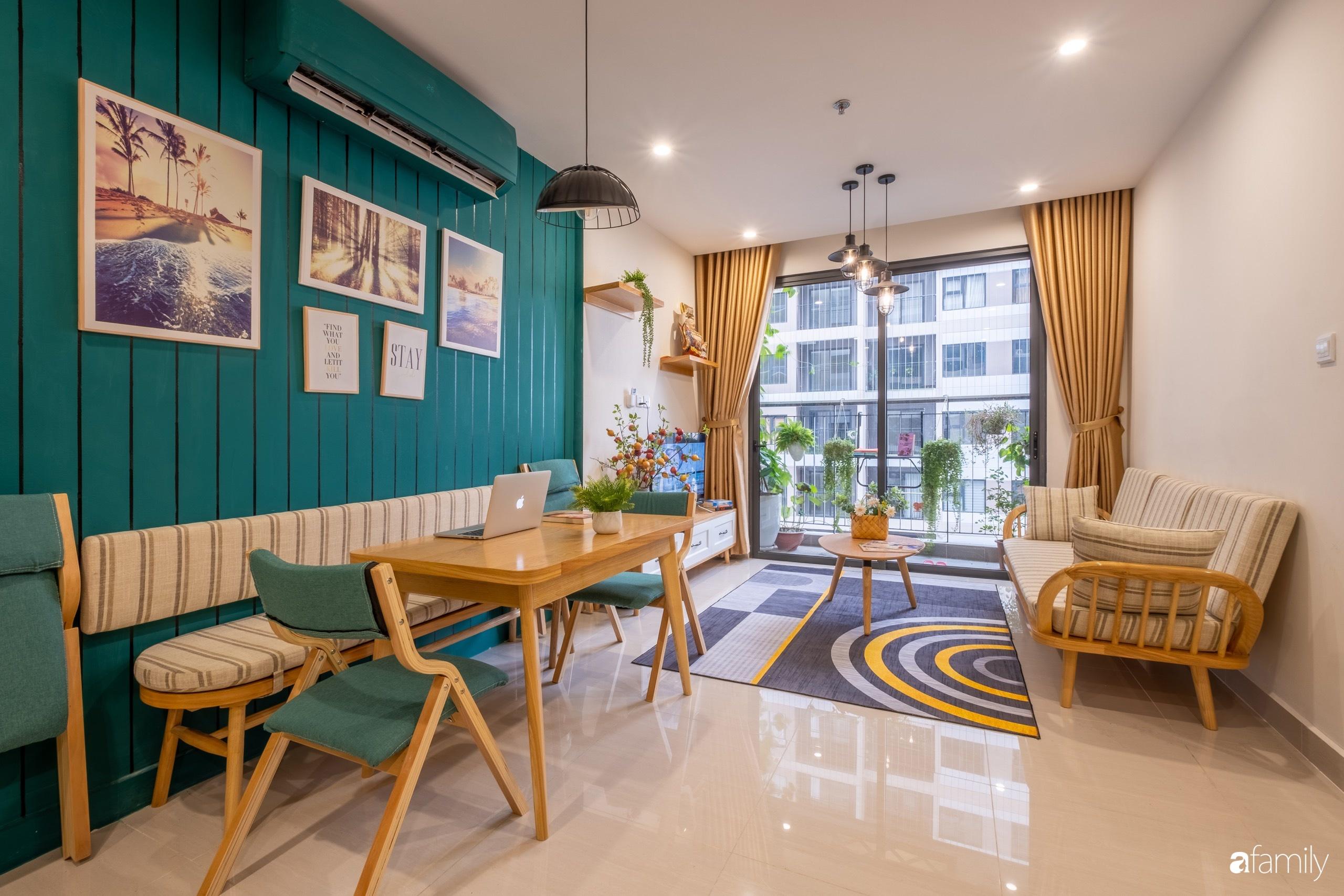 Căn hộ 54m² đẹp cuốn hút với tông màu xanh gần gũi với thiên nhiên có chi phí hoàn thiện nội thất 150 triệu đồng ở Hà Nội - Ảnh 8.