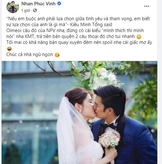 """Nhan Phúc Vinh """"vỡ trận"""" facebook vì đăng ảnh hôn Diễm My trong đám cưới sau nghi án rạn nứt quan hệ - Ảnh 1."""