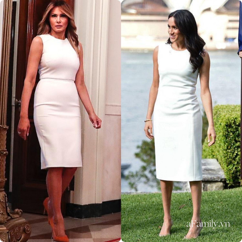 """Cùng mặc một kiểu đầm trắng, Meghan Markle bị chê khí chất """"kém"""" hẳn so với Đệ nhất phu nhân Mỹ dù người mới 39 còn người thì tận 50  - Ảnh 6."""