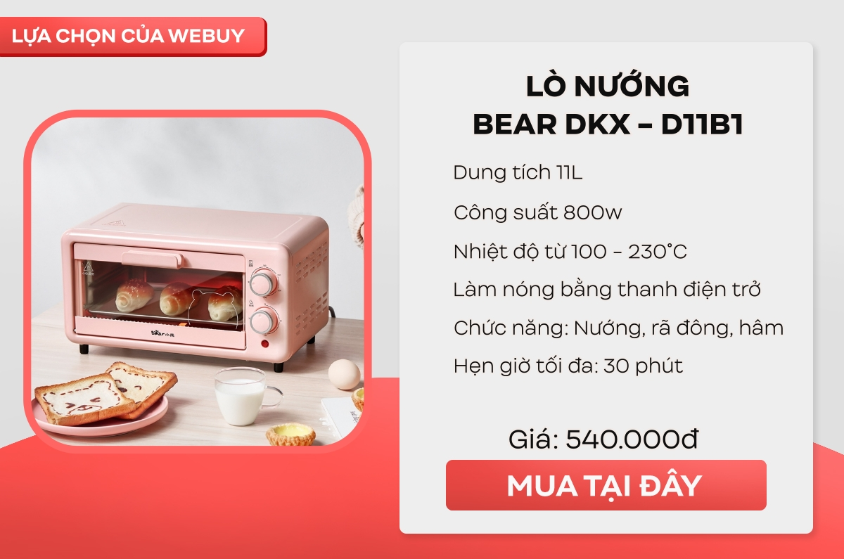 """Tinh thần """"Yêu Bếp, Nghiện Nhà"""" cao mà hầu bao eo hẹp thì đây là 4 mẫu lò nướng mini giá chỉ từ 350.000 đồng cho chị em thử sức - Ảnh 5."""