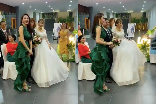 Thủy Tiên chơi trội lấn át cô dâu khi diện đầm đuôi cá xanh lá, nhưng khi biết sự thật ai cũng tấm tắc khen - Ảnh 2.