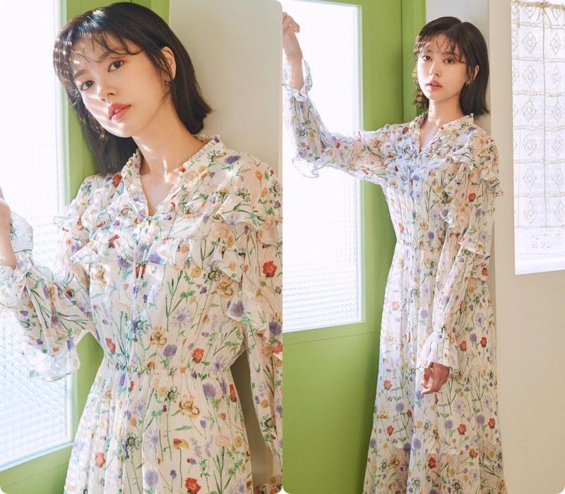 Sao Hàn diện váy liền mùa Thu: Nàng tiểu tam hot nhất xứ Hàn cũng góp vui với bộ váy hoa đẹp mê ly - Ảnh 4.