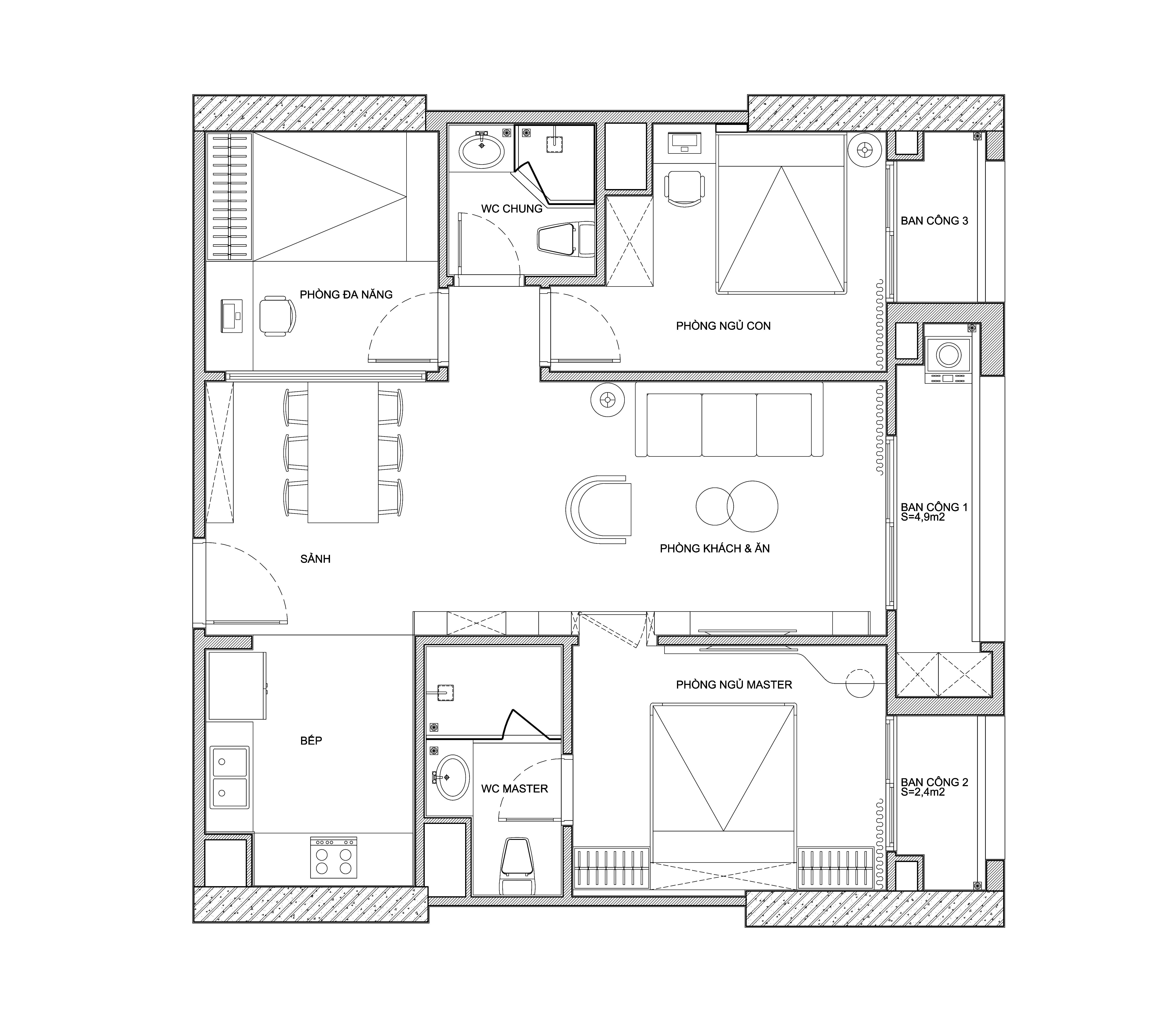 """Căn hộ 96m² tối ưu hóa công năng dành cho vợ chồng trẻ """"lười"""" dọn nhà có chi phí hoàn thiện 400 triệu đồng ở Hà Nội - Ảnh 3."""