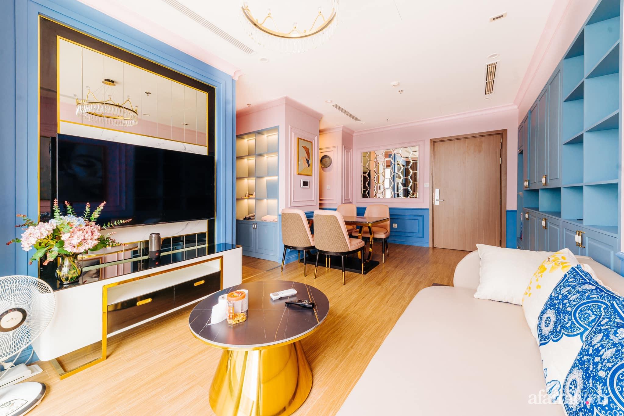 Căn hộ 45m² đẹp không góc chết với điểm nhấn màu xanh hồng cực chất có chi phí hoàn thiện 200 triệu đồng ở Hà Nội - Ảnh 1.