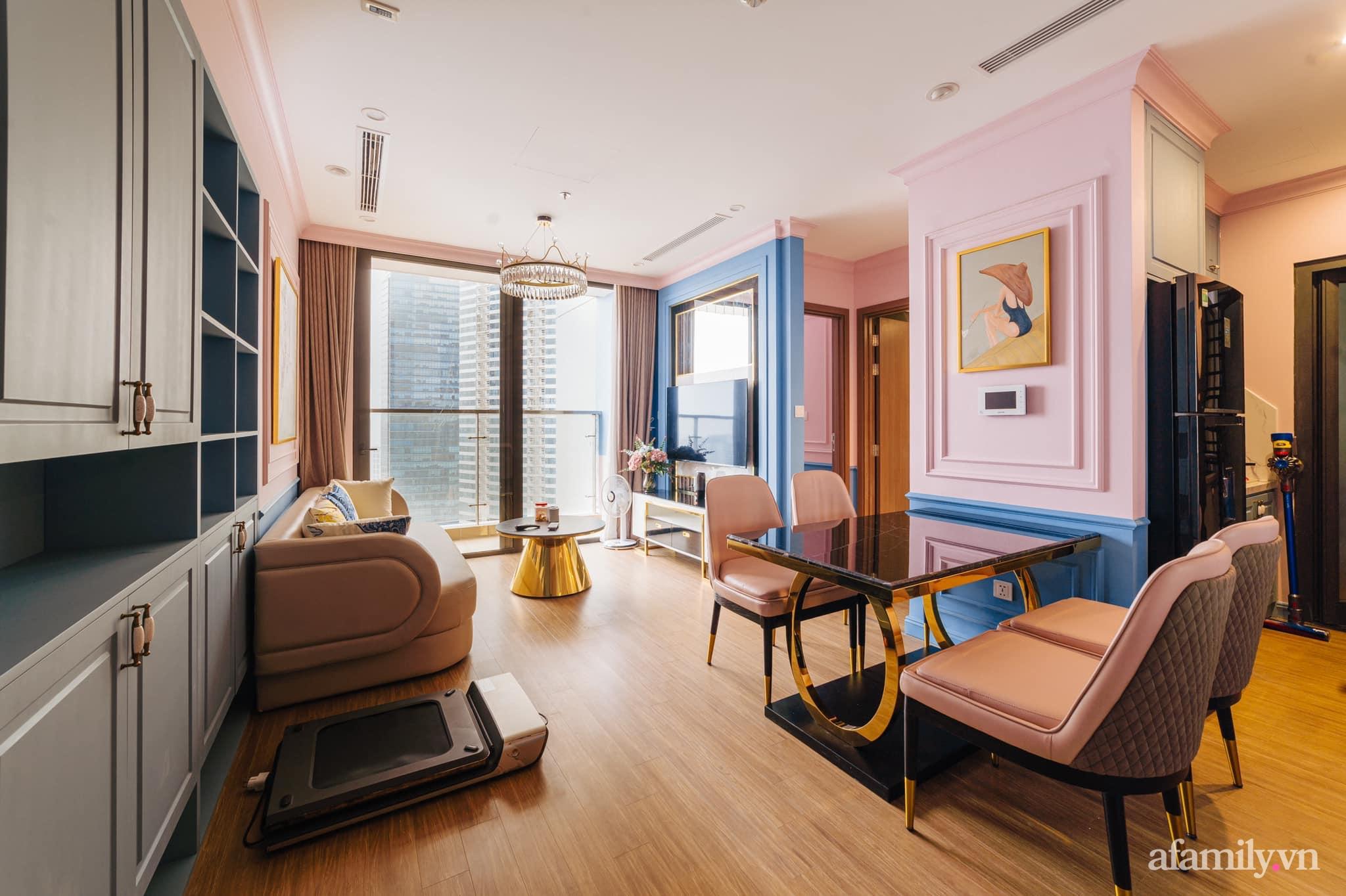 Căn hộ 45m² đẹp không góc chết với điểm nhấn màu xanh hồng cực chất có chi phí hoàn thiện 200 triệu đồng ở Hà Nội - Ảnh 6.