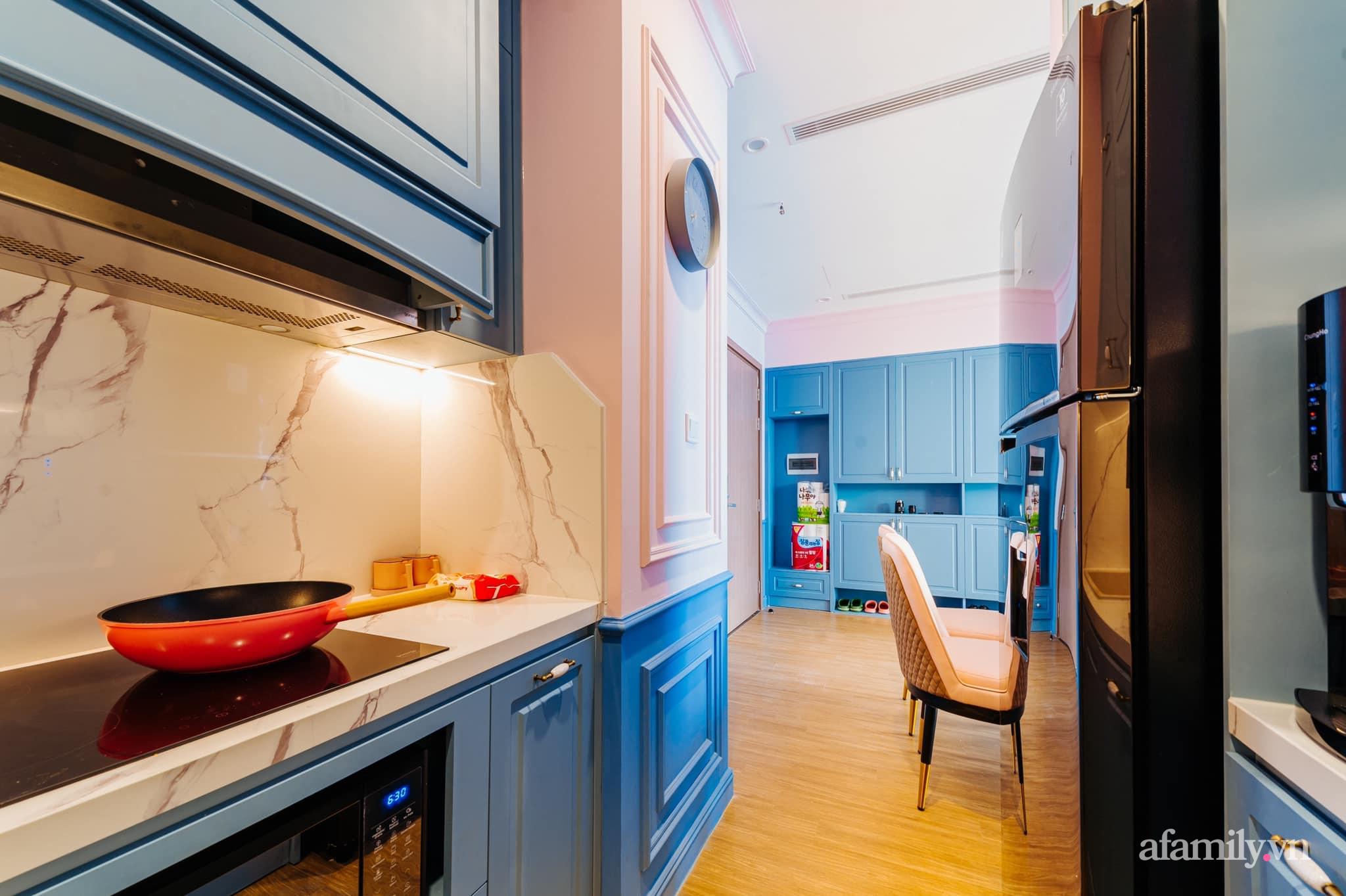 Căn hộ 45m² đẹp không góc chết với điểm nhấn màu xanh hồng cực chất có chi phí hoàn thiện 200 triệu đồng ở Hà Nội - Ảnh 7.