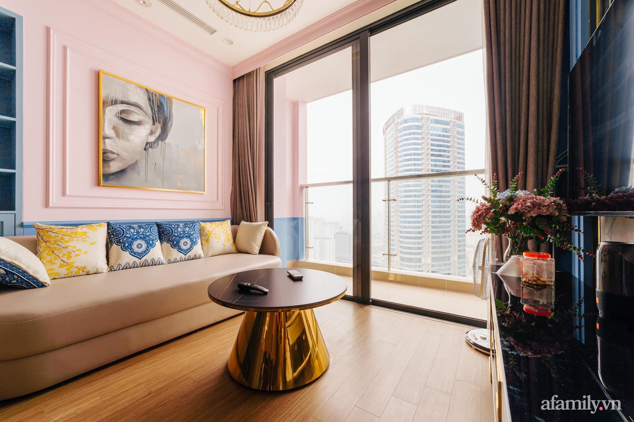 Căn hộ 45m² đẹp không góc chết với điểm nhấn màu xanh hồng cực chất có chi phí hoàn thiện 200 triệu đồng ở Hà Nội - Ảnh 2.