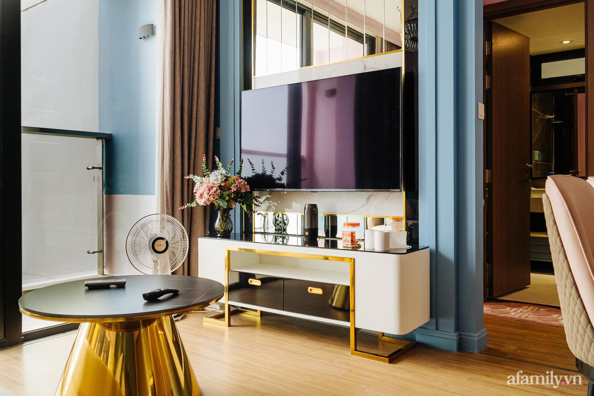 Căn hộ 45m² đẹp không góc chết với điểm nhấn màu xanh hồng cực chất có chi phí hoàn thiện 200 triệu đồng ở Hà Nội - Ảnh 3.
