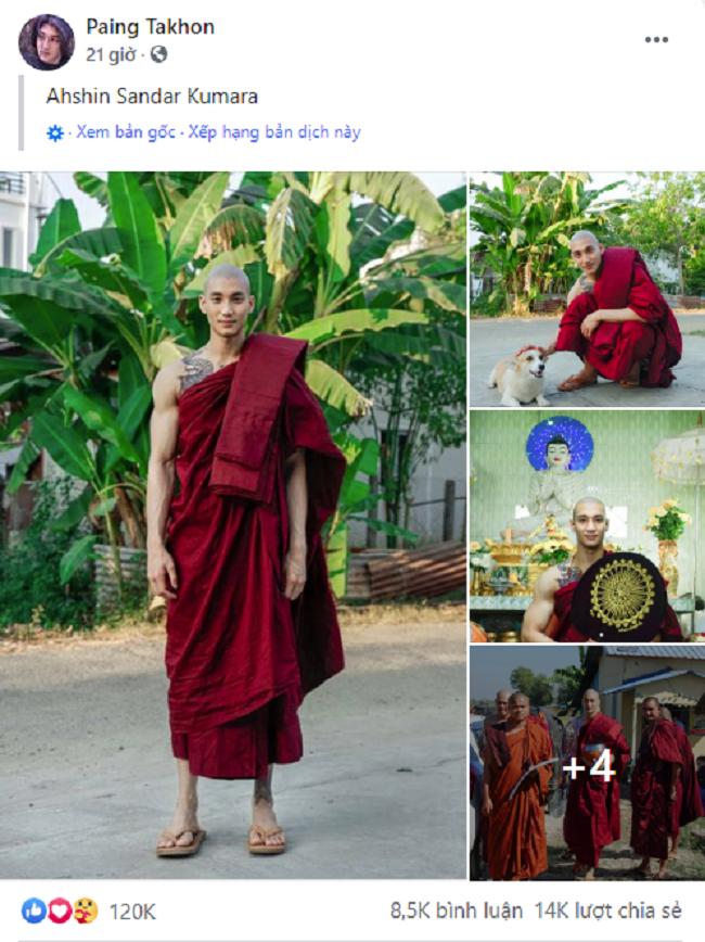 """Chàng người mẫu Myanmar """"gây bão"""" mạng xã hội với loạt ảnh nhà sư đẹp trai thần thái ngút trời, thu hút hơn 100.000 like trong chưa đầy 24 tiếng - Ảnh 1."""