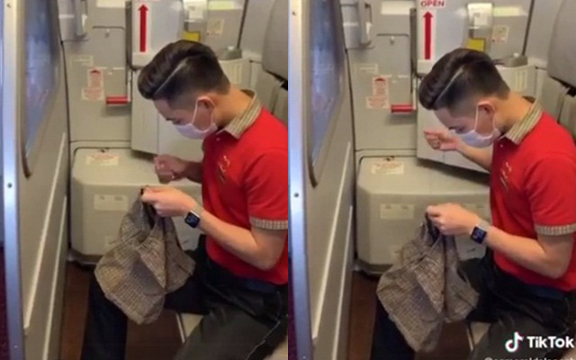 """Dân mạng """"đổ gục"""" khi thấy nam tiếp viên hàng không tự tay khâu chiếc quần mới cho hành khách nhí vừa bị nôn một cách tận tình"""