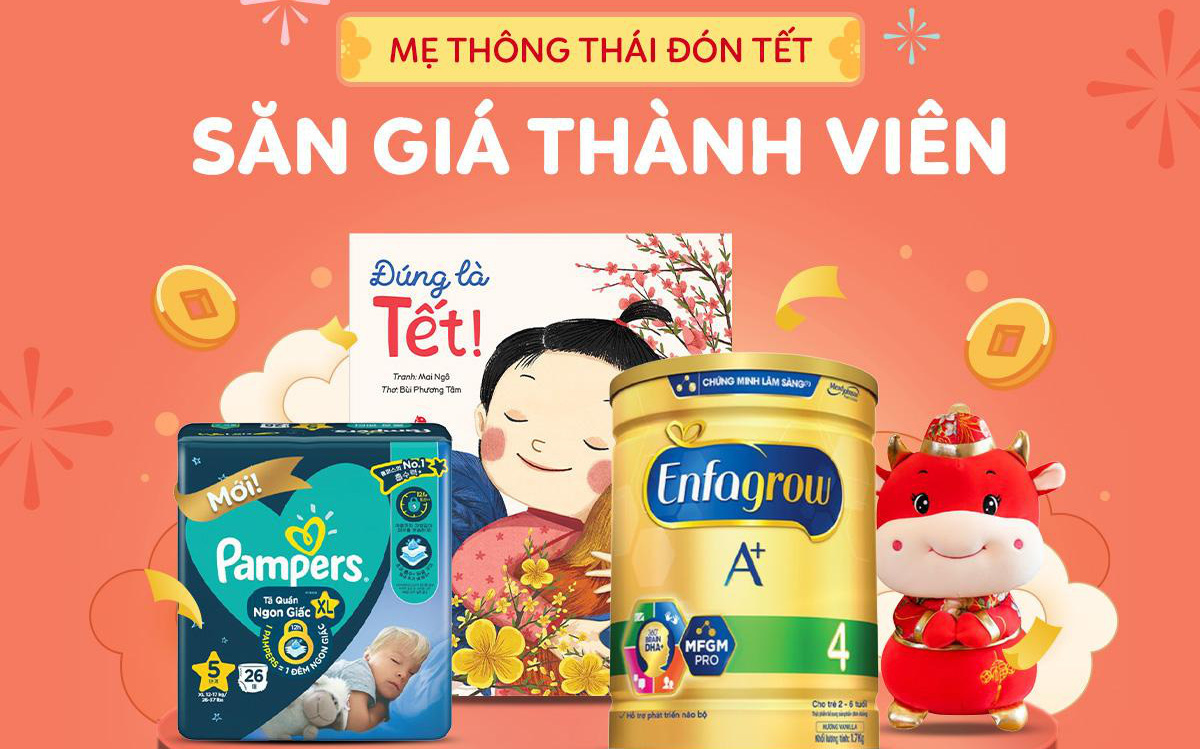 Shopee Mum's Club cùng mẹ đón Tết với ưu đãi tã, sữa, đồ chơi giảm hơn 40% trong ngày 18.01