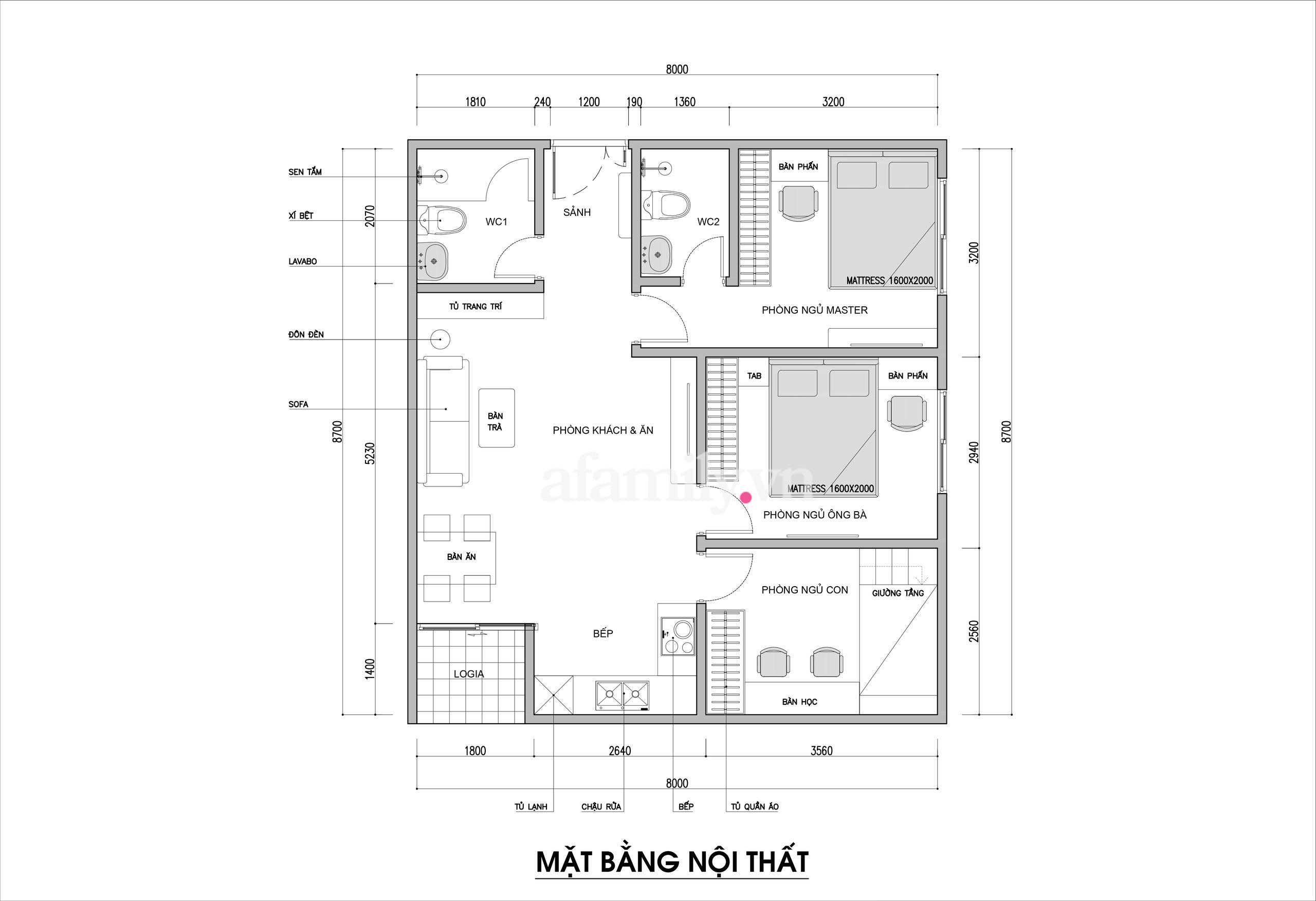 Kiến trúc sư vấn thiết kế căn hộ 67m² 3 phòng ngủ với chi phí 93 triệu đồng - Ảnh 2.