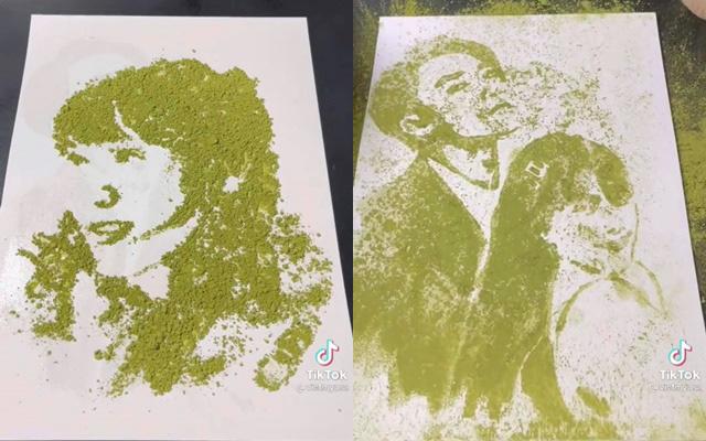 Chàng trai nhận mưa lời khen khi vẽ chân dung Hải Tú bằng bột trà xanh, màn biến hình sau đó càng gây ngỡ ngàng