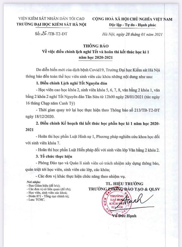 CẬP NHẬT: Hàng loạt trường ở Hà Nội thông báo khẩn cho học sinh, sinh viên nghỉ tết sớm, tạm dựng hoạt động tập trung - Ảnh 4.