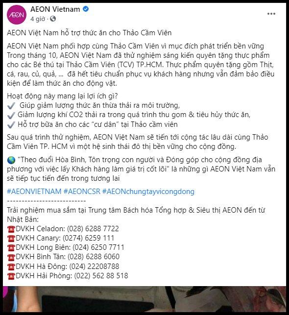 NÓNG: AEON Việt Nam hỗ trợ thức ăn cho Thảo Cầm Viên - Ảnh 1.