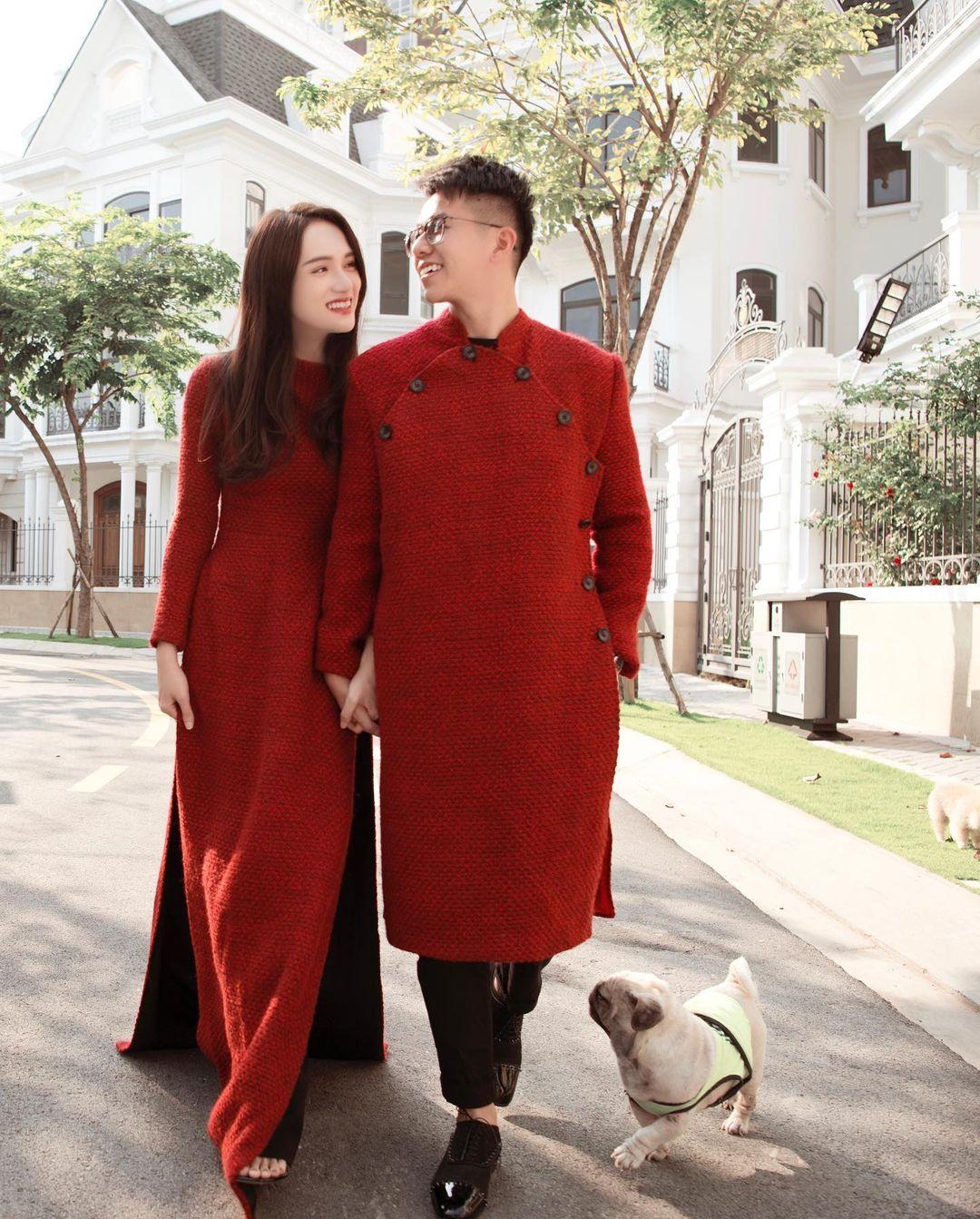 Sao Việt mặc gì mùng 1 Tết: Hương Giang - Matt Liu diện áo dài đôi, Nhã Phương lên đồ vừa trẻ vừa sang - Ảnh 3.