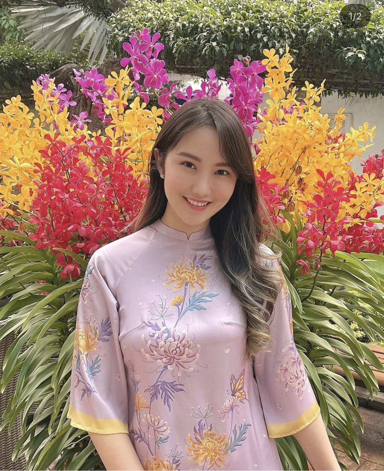 Primmy Trương khoe khoảnh khắc rạng rỡ sáng mùng 1 Tết, diện áo dài xinh đẹp đón năm mới đầu tiên ở nhà Phan Thành - Ảnh 1.