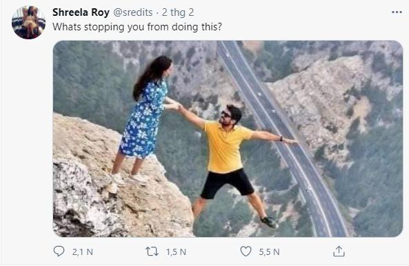 """Chia sẻ bức ảnh chụp trên vách đá cheo leo, cặp đôi bị """"ném đá tơi bời"""" vì quá mạo hiểm, nhưng sự thật bất ngờ phía sau khiến tất cả câm nín - Ảnh 2."""