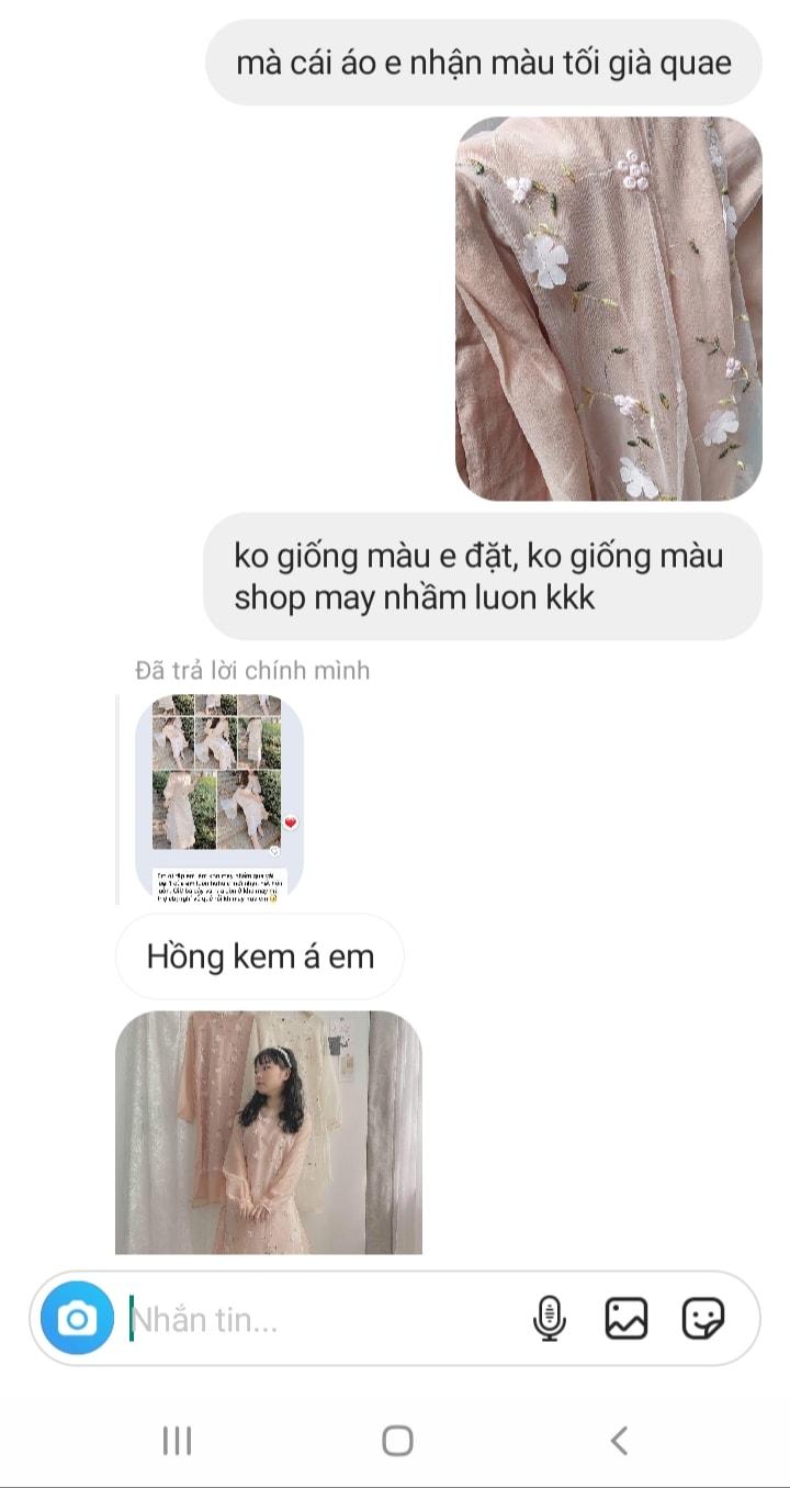 """Tôi đặt mua áo dài diện Tết giá 310k, hình mẫu khác xa với hàng nhận được nhưng bức xúc nhất là câu trả lời """"xanh rờn"""" của shop - Mix & Phối 6"""