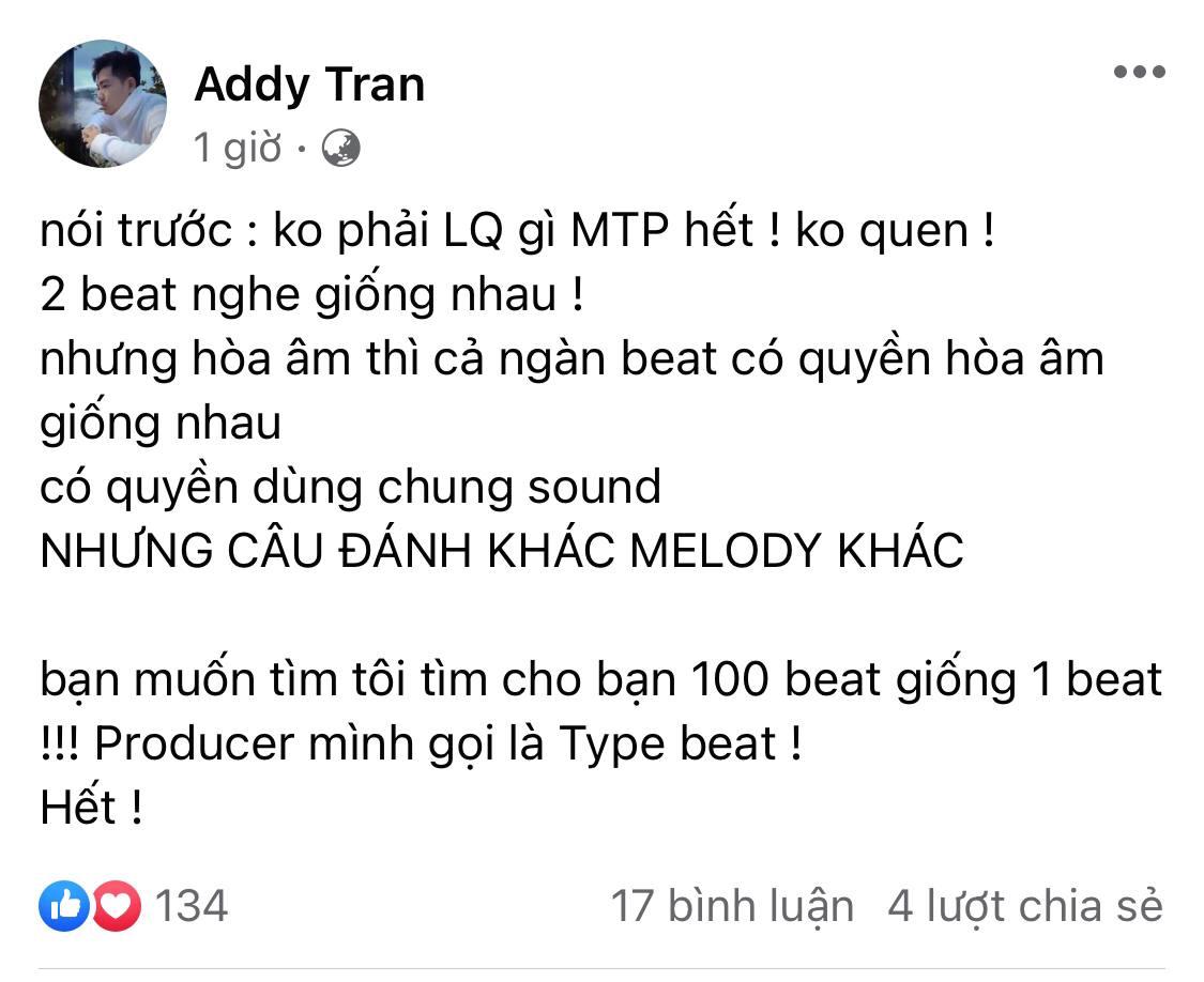 Trước lùm xùm của Sơn Tùng M-TP, Addy Trần khẳng định có thể tìm 100 beat giống 1 beat, thành viên Chillies cũng ẩn ý bênh vực - Ảnh 4.
