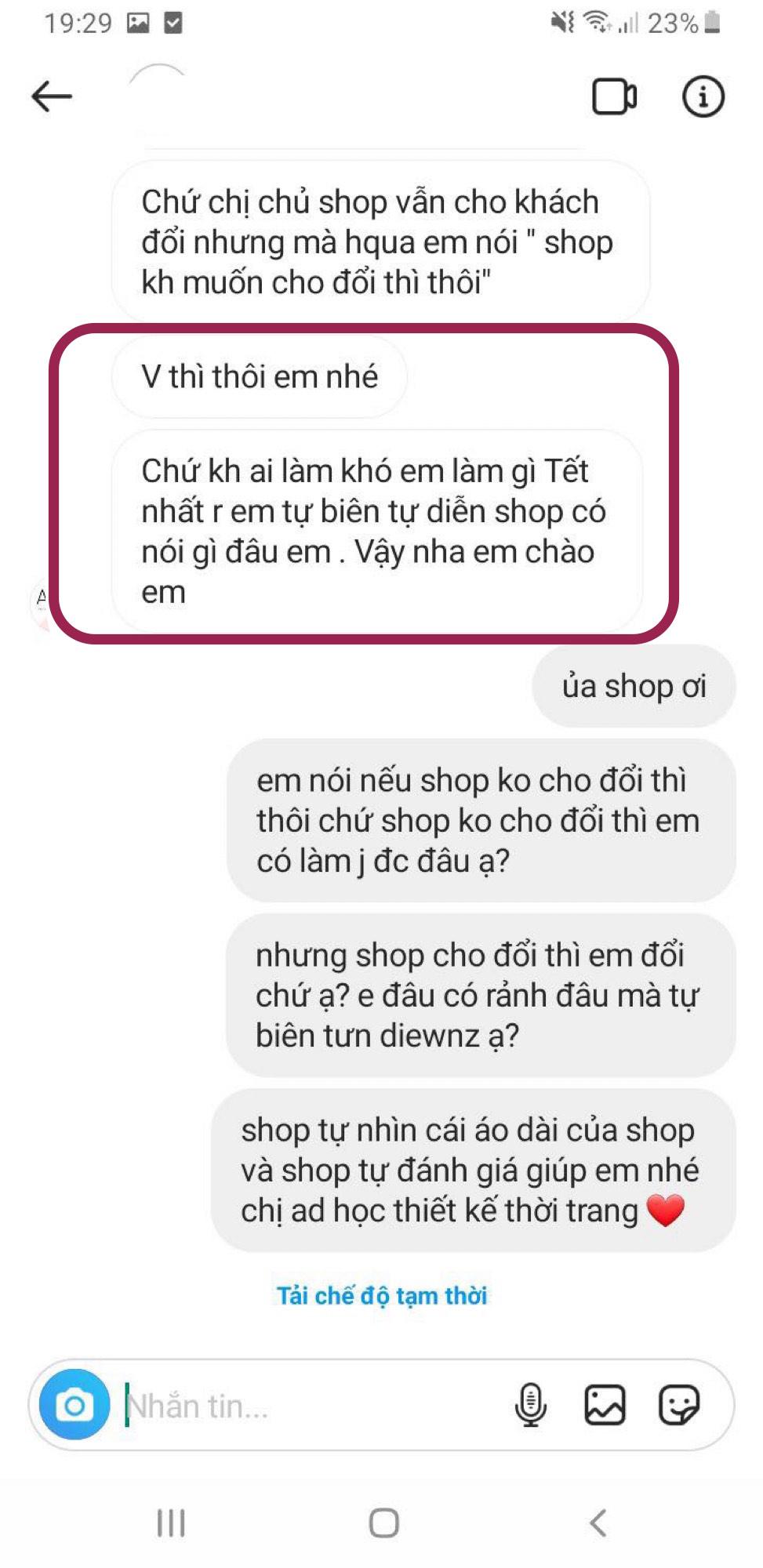 """Tôi đặt mua áo dài diện Tết giá 310k, hình mẫu khác xa với hàng nhận được nhưng bức xúc nhất là câu trả lời """"xanh rờn"""" của shop - Ảnh 6."""