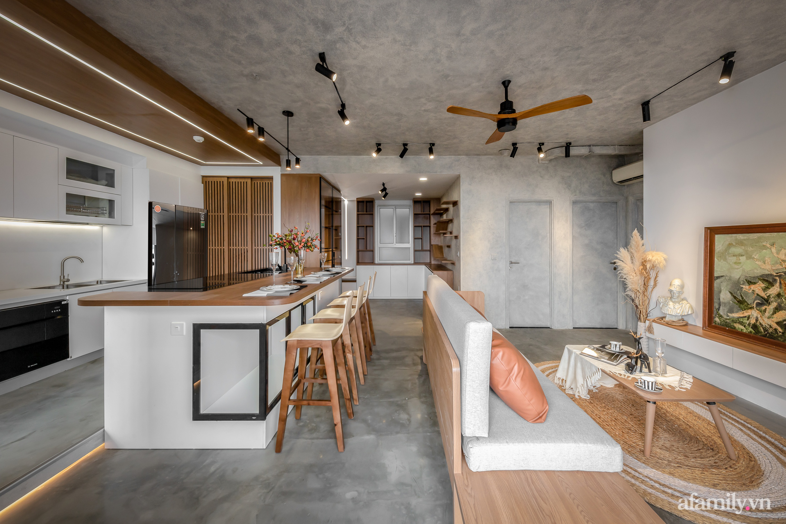 Căn hộ 106m² đẹp cá tính với hiệu ứng bê tông cùng phong cách tối giản có chi phí hoàn thiện 950 triệu đồng ở Sài Gòn - Ảnh 4.